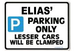 ELIAS' Personalised Gift |Unique Present for Him | Parking Sign - Size Large - Metal faced